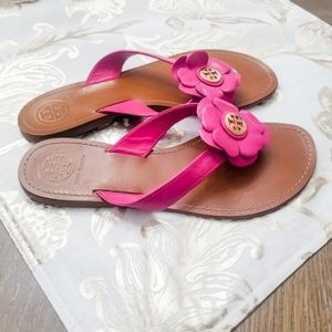 TORY BURCH Hot Pink Flower Sandals Size:8.5